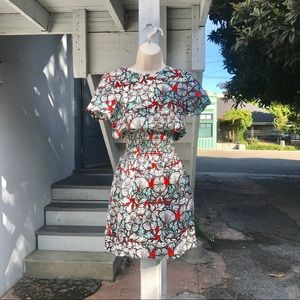 Maje Ruched-Waist Floral Day Dress